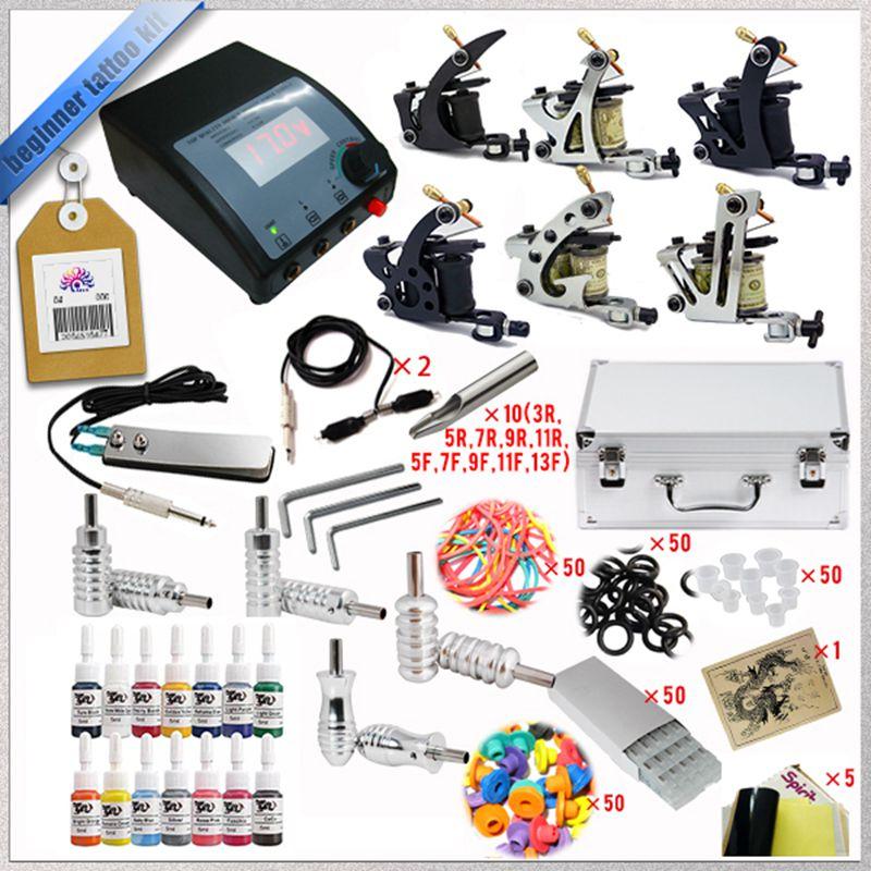 ФОТО High Quality Complete Tattoo Kit Set Equipment Machine Power Supply gun Color Inks Wholesale 6pcs tattoo machine  tattoo ink 037