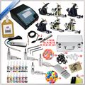 High Quality Complete Tattoo Kit Set Equipment Machine Power Supply gun Color Inks Wholesale 6pcs tattoo machine  tattoo ink 037