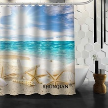 custom seashells shower curtain high quality bathroom accessories bath screens customized
