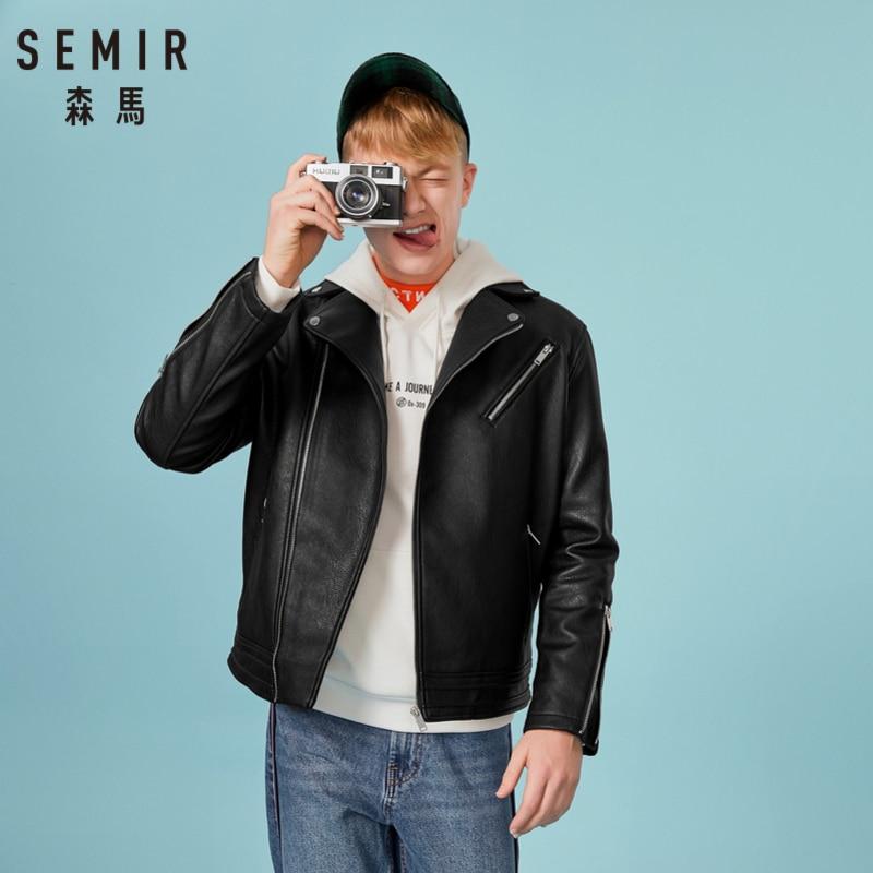 SEMIR Men PU Leather Biker Jacket with Long Raglan Sleeves Men's Moto Jacket Diagonal Zip at Front with Zip Pocket Zip at Cuffs