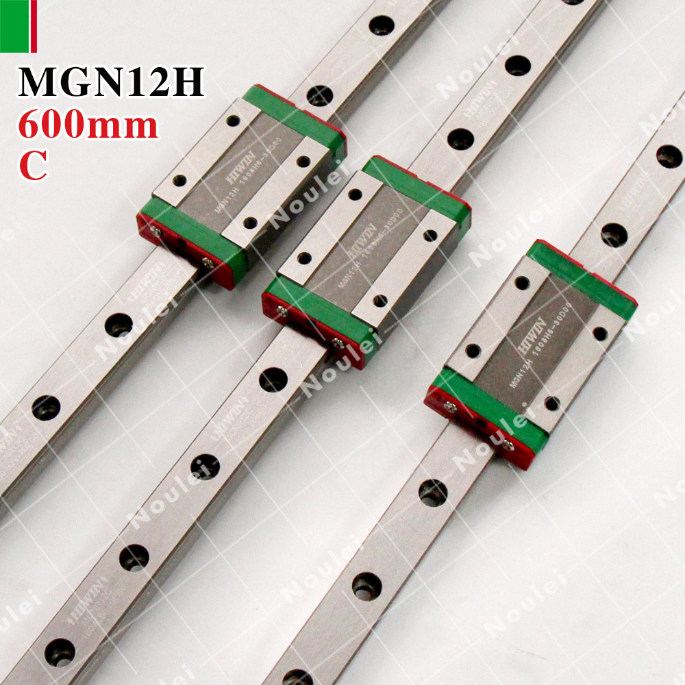 HIWIN Mini MGN12 12mm linear guide rail 3 pcs 600mm with MGN12H slide Block for CNC X Y Z axis parts hig quality linear guide 1pcs trh25 length 1200mm linear guide rail 2pcs trh25b linear slide block for cnc part