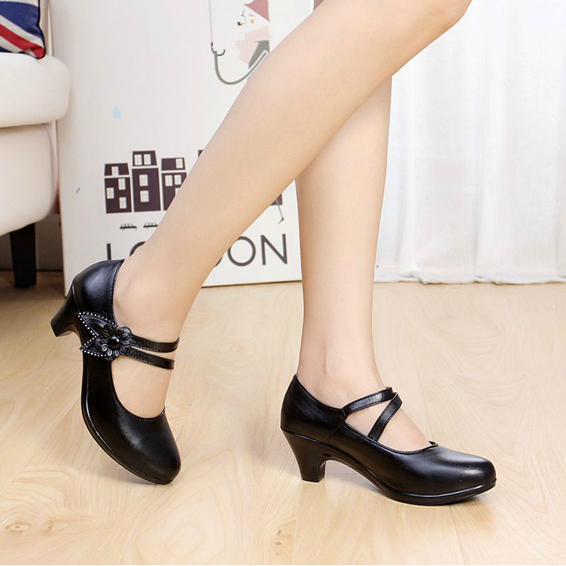 New 2016 Women Genuine Leather Shoes Woman Office Lady Work Comfort Mother Casual Pumps Plus Size 40 41 In S From