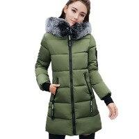 Winter Down Cotton Jackets Womens New 2017 Long Coat Hooded Fashion Parkas Plus Size Fur Collar