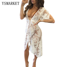 New Summer Dress Women Sexy Transparent Lace Tunic Beach Black White Sheer Lace Tassel Tie Pily Cover Ups Ropa de playa Q42192 недорого