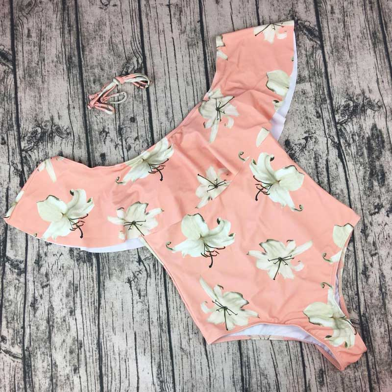 M&M Sexy Floral Print Ruffle Swimwear Women Monokini Swimsuits One Piece Swim Beachwear Bathing Suits Swim Wear Maillot De Bain