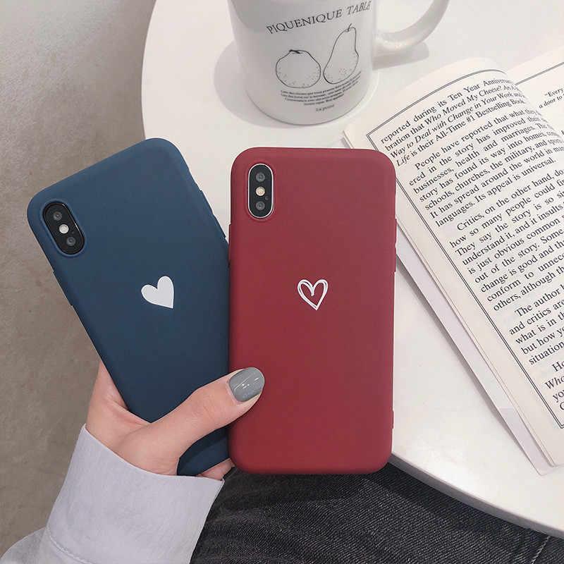 ワイン赤ハート携帯電話ケース iphone 6 6s 7 8 プラス X XR XS 最大愛のスタイルソフト TPU シリコンケース裏表紙