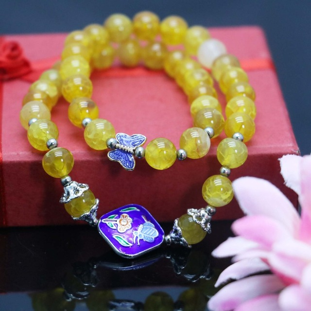 New 8mm Yellow Dragon Agate Beads Bracelet For Women Gift Female Bracelet Butterfly Natural Stone Fashion Jewelry Making Design