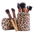 12 pcs Leopard Grain Professional Makeup Brushes Tools Cosmetics Makeup Cosmetic Brush Set + PU Comestic Brushes Cup Organizer