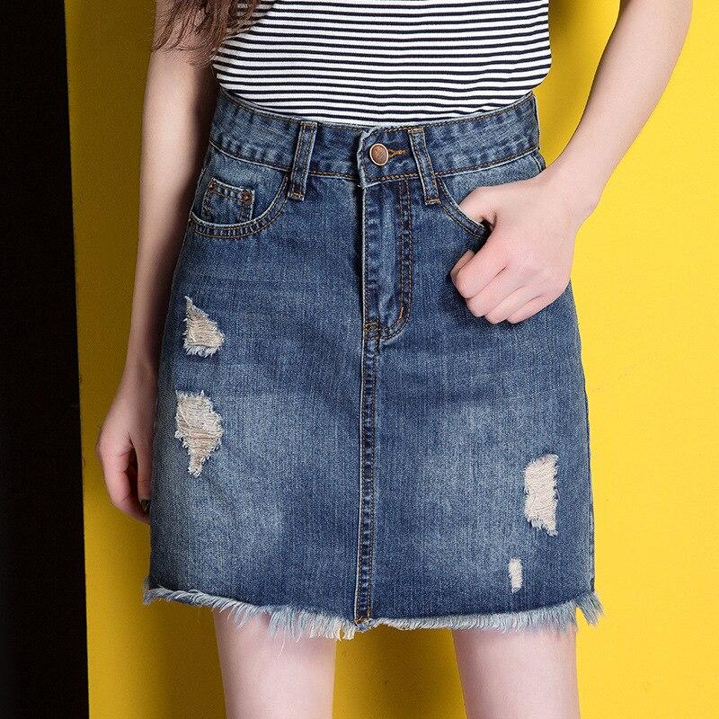 Джинсовые юбки с рваным краем