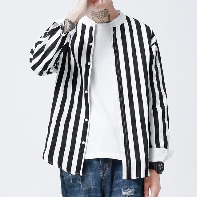e29f8d846 MIXCUBIC 2018 primavera cuello alto estilo coreano rayas camisas hombres  casual colores mezclados rayas camisas para