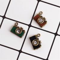 Wholesale 14*17MM 3D Rhinestone Crystal Paved Vintage Alloy Camera Enamel Charms Antique Bronze Color DIY Jewelry Charm Craft
