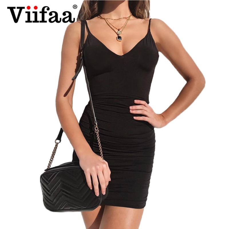 Viifaa Sexy Bodycon Mini Dress Spaghetti Strap V neck Backless Party Dress Women Summer Club Short Dress