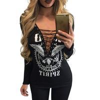 Donne Stampato T-Shirt 2017 Delle Signore Supera i t Con Scollo A V Pizzo Manica Lunga T-Shirt di Moda Femminile Abbigliamento Donna Plus Size LJ7380X
