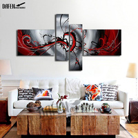 4pcs Hand Painted Abstract Oil Painting on Canvas Red and Gray Wall Picture Abstract Canvas Paintings Home Decor Art No Frame