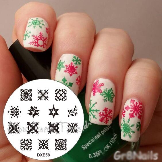 Nail Art Terdekat Dari Sini: Natal Kepingan Salju Salju Pola Nail Art Stamp Stamping