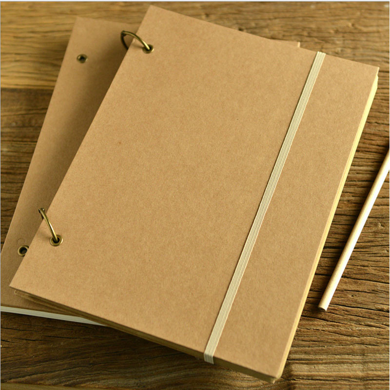 Hot Blank Sketchbook Diary Drawing Graffiti Painting A4 Spiral square Kraft Notebook paper Sketch book School Supplies Gift notebook a4 inside page spiral 60 sheets 3 hole filler paper blank and line kraft paper office and school supplies writing pads