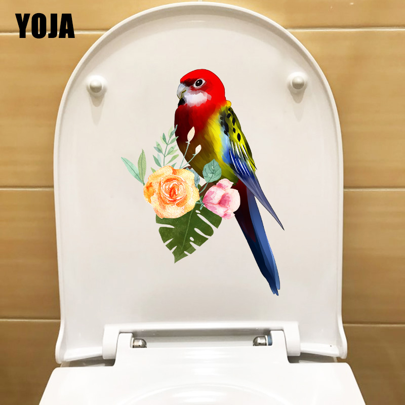 YOJA 15.5X22CM Cute Parrot Room Decoration Wall Sticker Cartoon Bathroom Toilet WC Decal T1-1972