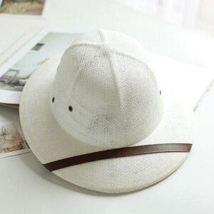Image 4 - 2019 Unisex Novelty Toquilla Straw Sun Hats for Men Vietnam War Army Hat  Helmet Pith Dad Boater Bucket Hats Summer