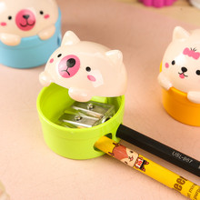 Kawaii Cartoon Cat Pig Pencil Sharpener Double Hole Sharpeners for Pencil Kid's Novelty Gift Stationery Office School Supplies