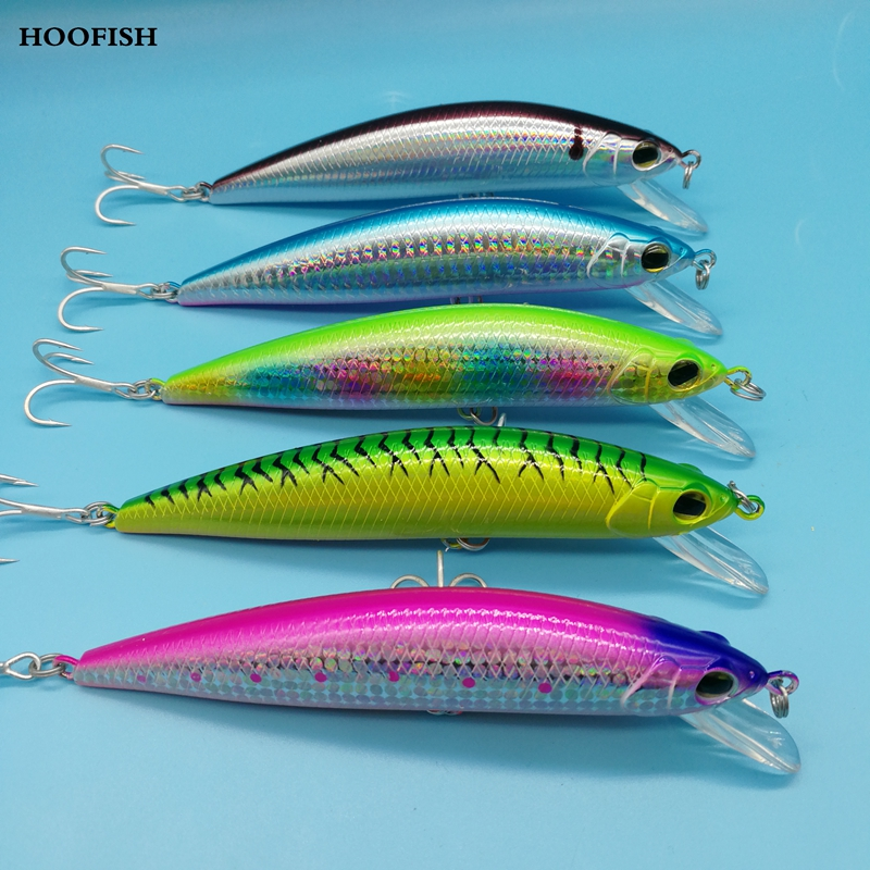 HOOFISH   3PCS /LOT Sinking Minnow Hard Lure 12cm/42g  5 Colors For Choose2  Treble Hook Artificial Fishing Bait