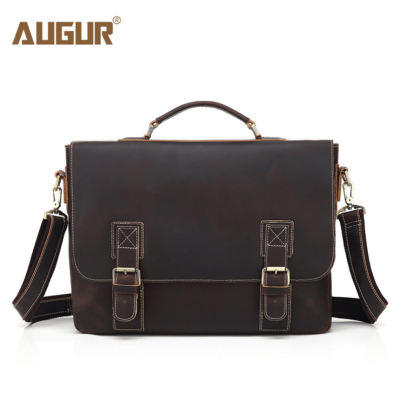 AUGUR Brand Crazy Horse Men Handbags Men Buiniess Travel Shoulder Bags Retro Genuine Leather High Quality Crossbody Bag augur brand men s messanger bags casual travel bag male army military crossbody tote bag high quality canvas shoulder bags