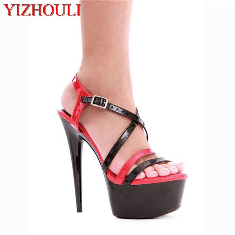 86e558d5264f6 مثير المفتوحة تو منصة النساء 15 سنتيمتر ارتفاع كعب الأحذية ، الصنادل عالية  الكعب ، أحذية الزفاف
