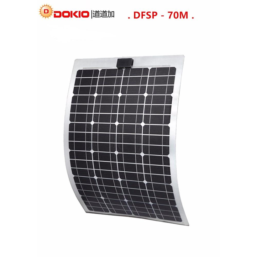 DOKIO Brand Flexible Solar Panel 70W Monocrystalline Silicon Solar Panels China 18V 910*530*25MM Size Top Quality painel solar 100w 12v monocrystalline solar panel for 12v battery rv boat car home solar power