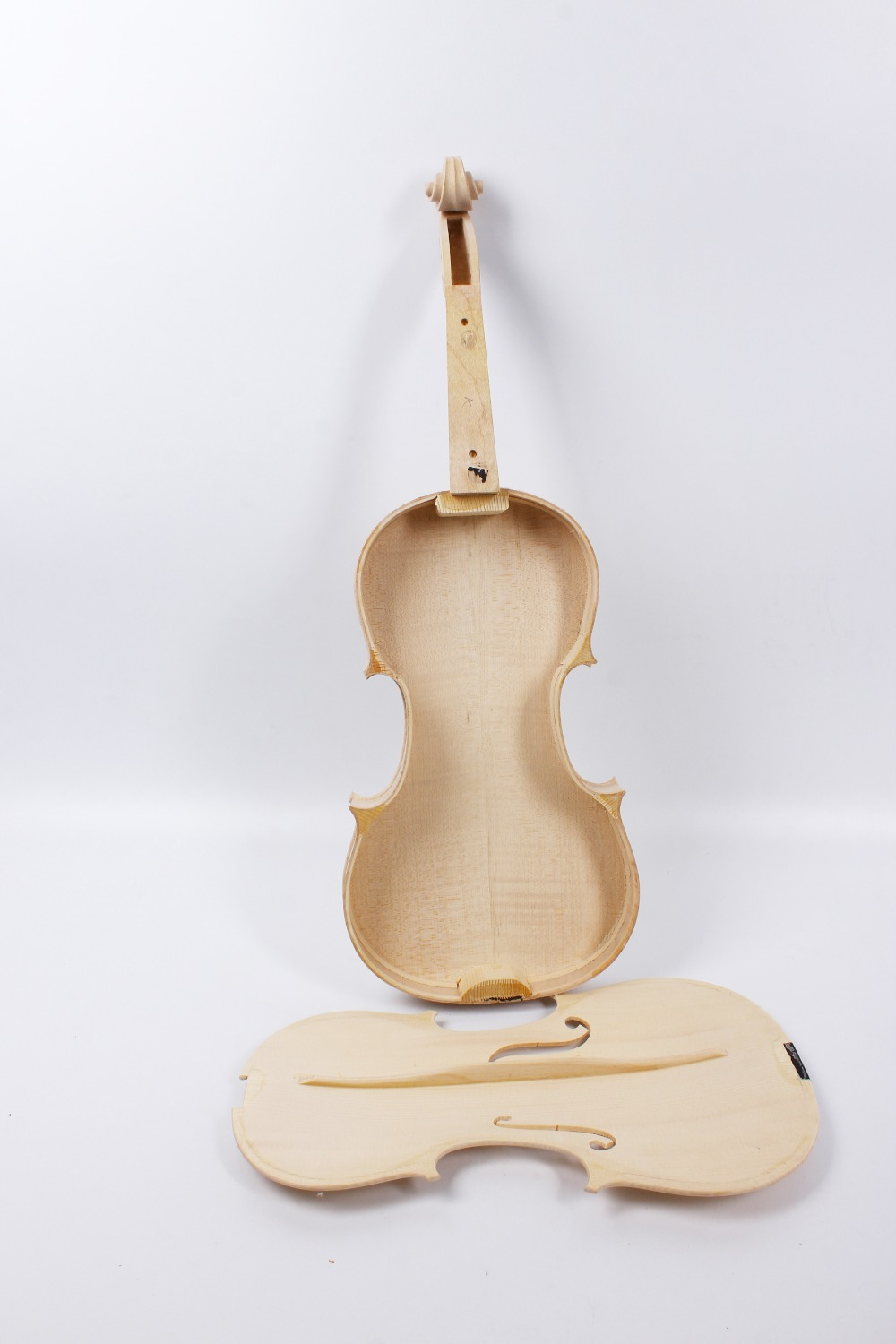 Yinfente White Unfinished Violin Flame Maple & Spruce wood Unglue Violin Accessories Violin Parts 4/4 Full Size
