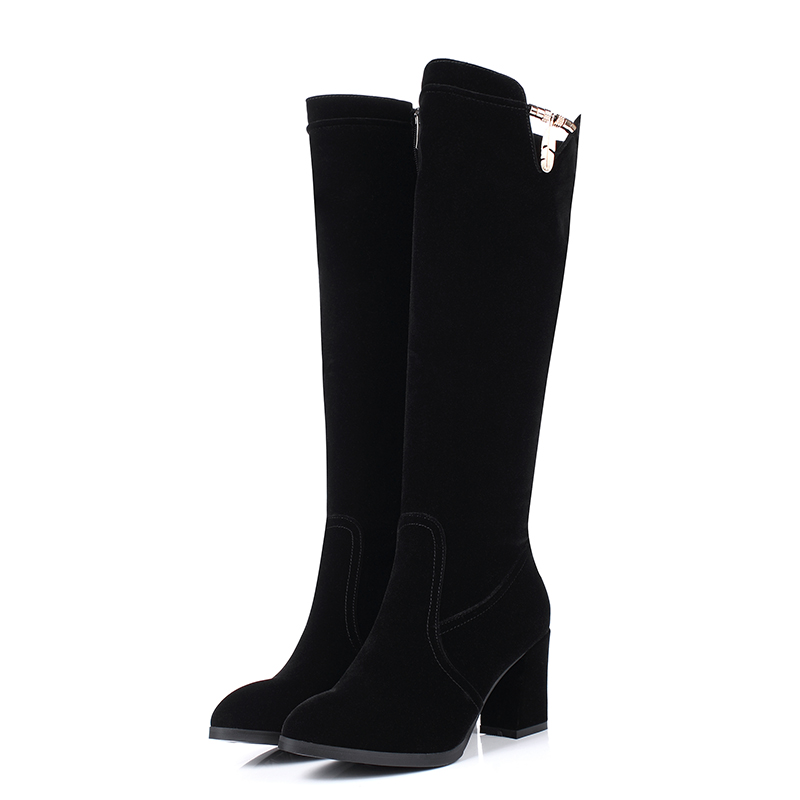 Popular Long Black Leather Boots Women-Buy Cheap Long Black