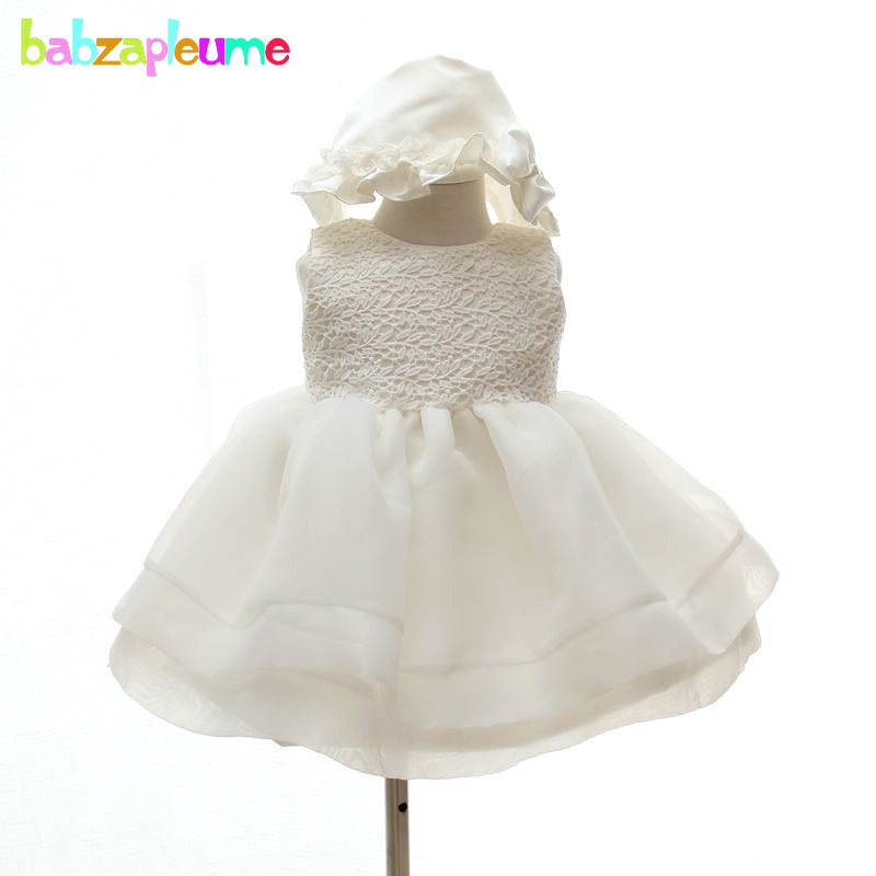 2PCS/0-24M/Summer Baby Girls 1 Year Birthday Baptism Dress White Lace Tutu Party Wedding Dresses Infant Christening Gown BC1194