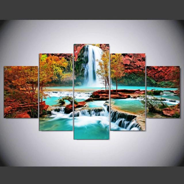 5pcs Diamond embroidery landscape waterfall 5d diy diamond painting Cross Stitch full Rhinestone mosaic Multi picture