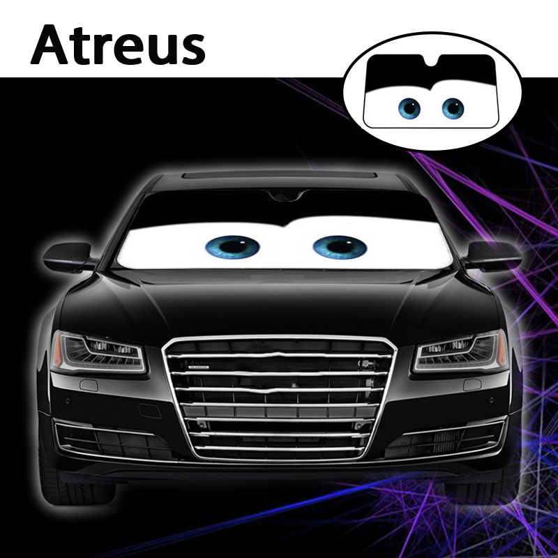 Atreus 1pc Cartoon Car Window Windshield Windscreen Cover Sun Shade For Mercedes Benz W204 W203 W211 AMG Mini Cooper Skoda