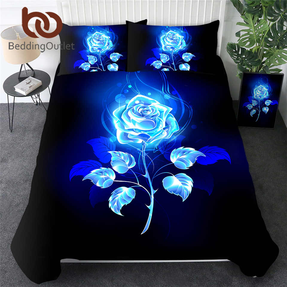 BeddingOutlet Blue Enchantress Bedding Set 3D Print Duvet Cover Set Colorful Roses Floral Bedclothes 3pcs Watercolor Quilt Cover
