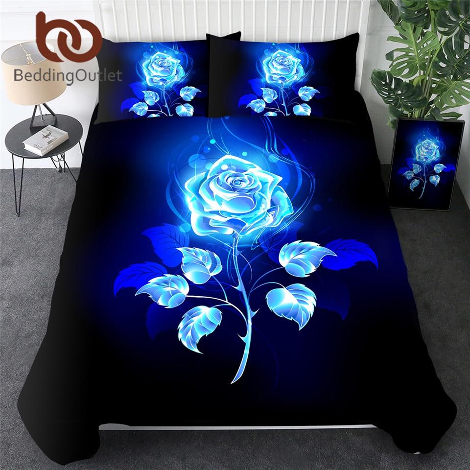 BeddingOutlet Blue Enchantress Bedding Set 3D Print Duvet Cover Set Colorful Roses Floral Bedclothes 3pcs Watercolor Quilt Cover