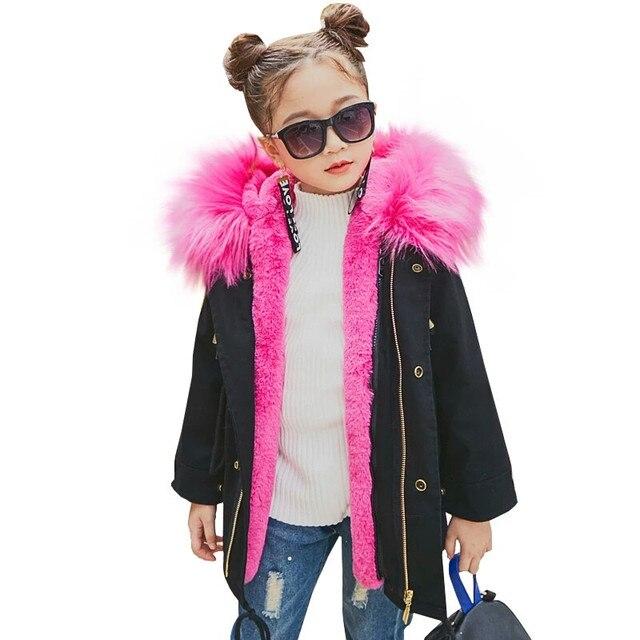 d5f3ae4b3fcb Girls Winter Coat Faux Fox Fur Liner Detachable Jackets Toddlers ...