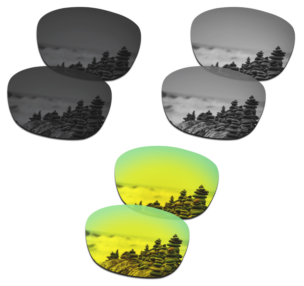 SmartVLT 3 Pairs Polarized Sunglasses Replacement Lenses for Oakley Drop In Stealth Black and Silver Titanium and 24K Gold