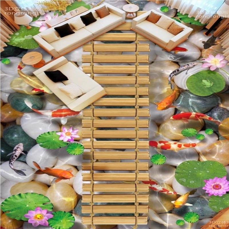Free Shipping Wooden bridge lotus carp stone floor 3D floor tiles wear non-slip waterproof bathroom living room wallpaper mural