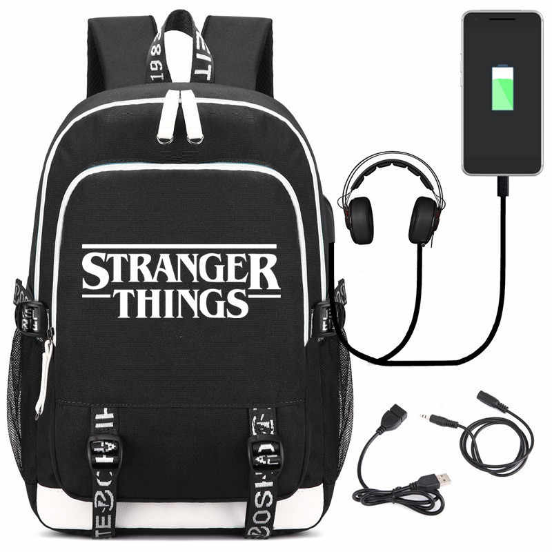New Stranger Things Anime Fairy Tail USB Headphone Jack Boy Girl School bag Women Bagpack Teenagers Canvas Men Backpack Packsack