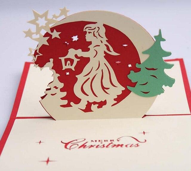 10 Stücke 3D Weihnachten Engel Handgemachte Kirigami Origami Für Frohe  Weihnachten Party Einladungskarten Greeding Postkarte
