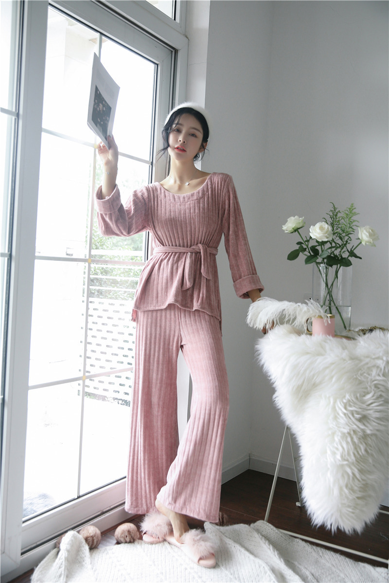 JULY'S SONG Woman Winter Flannel Pajamas Sets 2 Pieces Warm Pajamas Thick Sleepwear Woman Casual Homewear 44