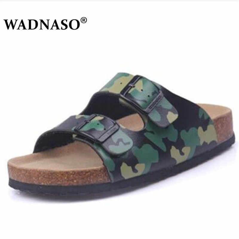 WADNASO New Summer Men Beach Cork Slippers Sandals Casual Double Buckle Clogs Sandalias Man Slip on Flip Flop Shoe EU 35-45
