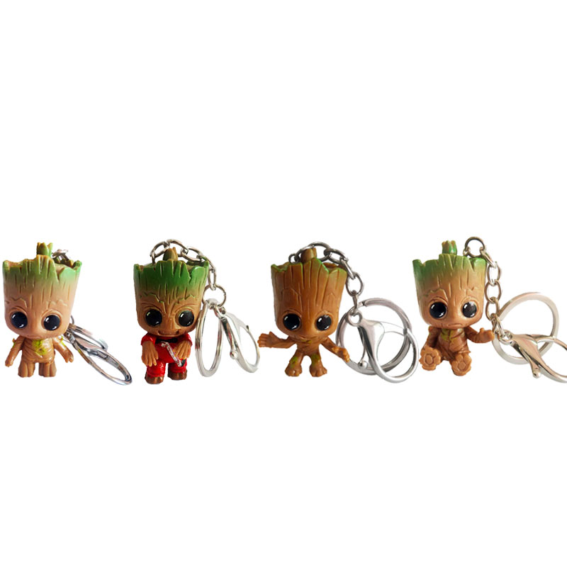 New Groot Keychain The Avengers Figure Pendant Cute Key Ring Car Key Chains Marvel Fashion Jewelry Gift For Men Women Kids