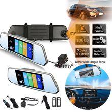 Full HD 1080 P Автомобильный dvr камера авто 7 дюймов ips HD экран зеркало заднего вида цифровой видео регистраторы двойной объектив Registratory видеокамера