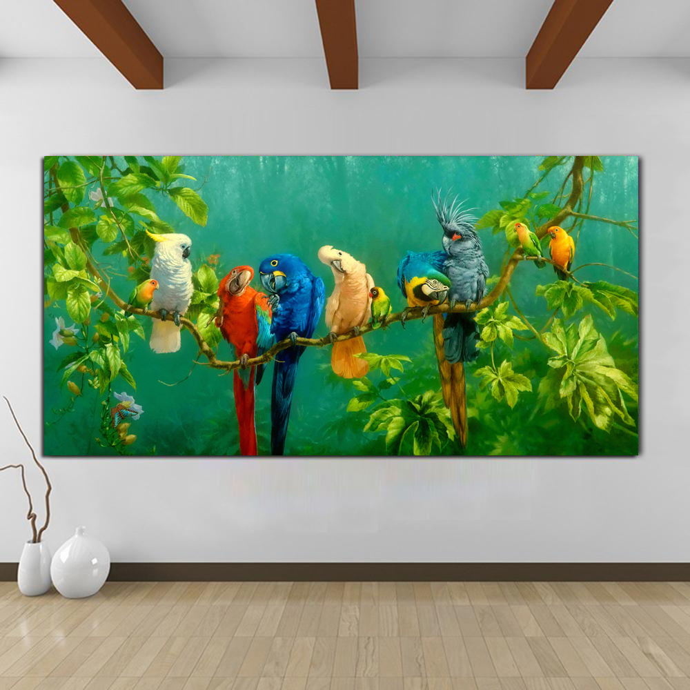 Pictures Colorful Parrots Animal Painting Canvas Painting Wall Art Prints For Living Room Modern Decorative Prints Posters