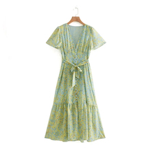 Women's Casual Floral Dress Short Sleeve V-Neck Print Single-Breasted Loose Summer Dress A-Line Fashion Bohemian Dresses цена в Москве и Питере