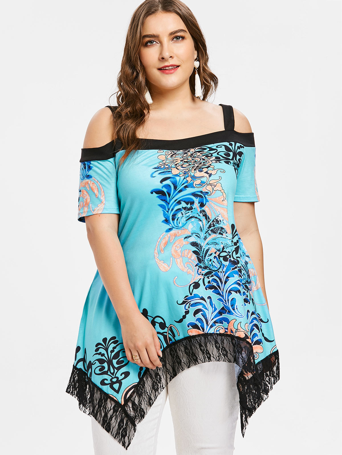 Kenanxy 4XL Plus Taille Mouchoir Fleur T-shirt Femmes Froid Épaule En Dentelle Floral T-shirt