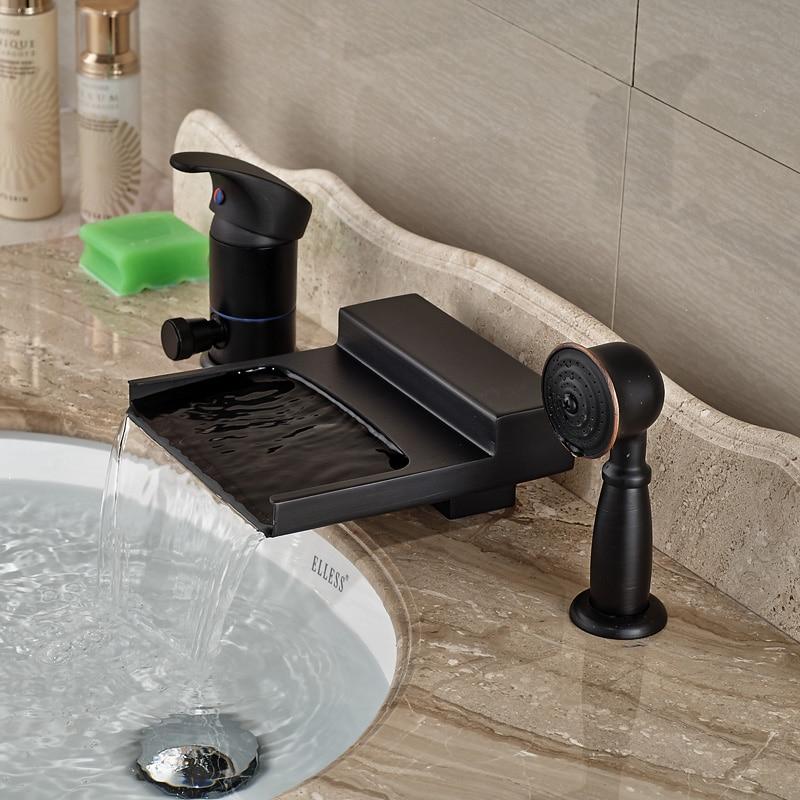 Deck Mount Single Handle Waterfall Tub Mixer Faucet Bathroom Bathtub Faucet with Handshower цена и фото