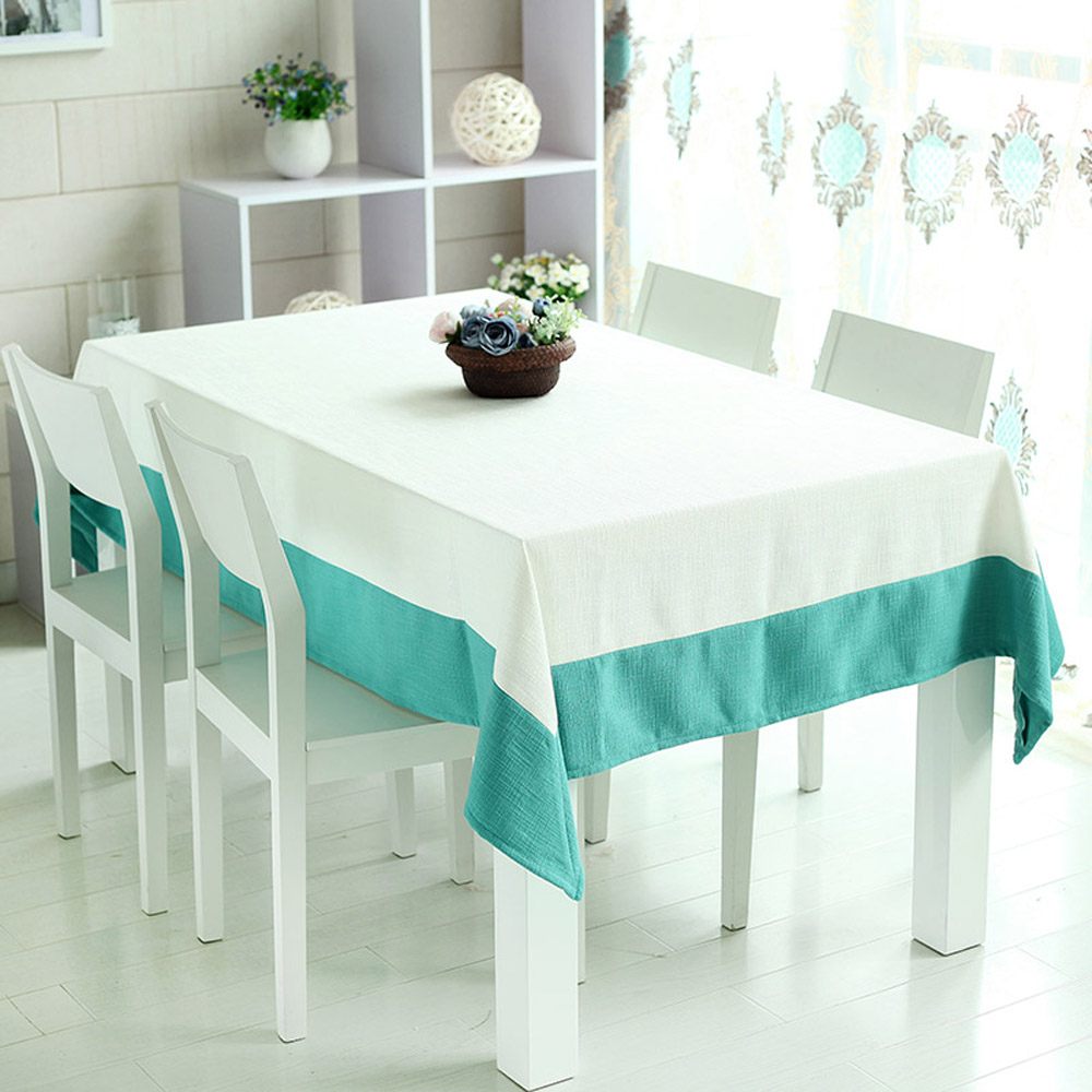 Nobildonna Blue and white Splicing Tablecloth Modern Kitchen Dining ...