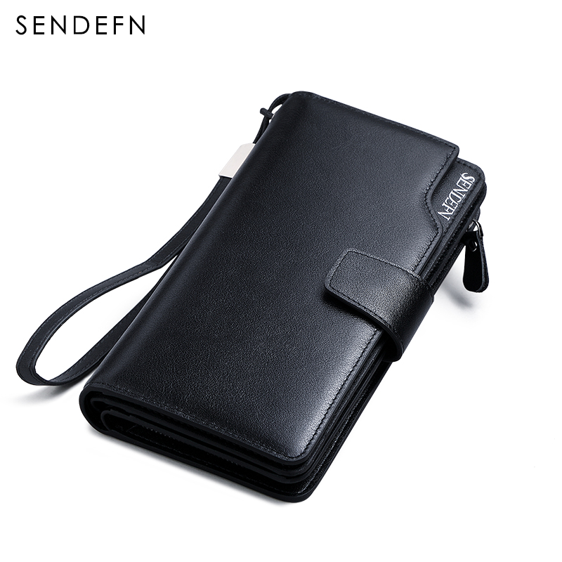 Hot Sale Luxury Genuine Leather Men Wallets Long Purse SENDEFN Man Wallet Card Holder Male Clutch Zipper Coin Pocket williampolo men wallets male purse genuine leather wallet with coin pocket zipper short credit card holder wallets leather