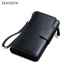 Hot Sale Luxury Genuine Leather Men Wallets Long Purse SENDEFN Man Wallet Card Holder Male Clutch Zipper Coin Pocket(China)